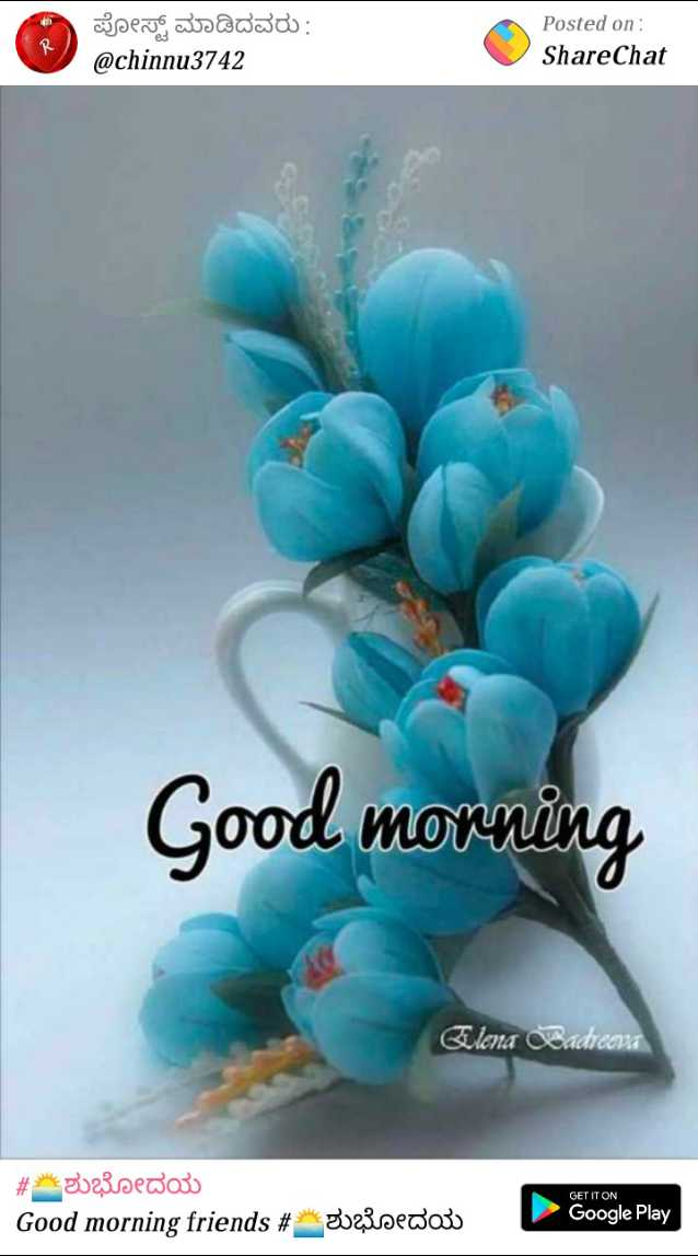🌅ಶುಭೋದಯ - ಪೋಸ್ಟ್ ಮಾಡಿದವರು : @ chinnu3742 Posted on : ShareChat Good morning Elena Badreema GET IT ON # * 3023sedoso Good morning friends # 2023sedoo Google Play - ShareChat