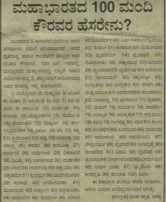 🧠 ಸಾಮಾನ್ಯ ಜ್ಞಾನ - ಮಹಾಭಾರತದ 100 ಮಂದಿ ಕೌರವರ ಹೆಸರೇನು ? * ಪಾಂಡವರು 5 . ಜನರಾಗಿರುವುದರಿಂದ ಅವರ 47 ) ಬಲವರ್ದನ48 ) ನಿಷಂಗಿ49 ) ಉಗ್ರಾಯುಧ ಹೆಸರುಗಳು ನಮಗೆ ಪರಿಚಿತವಾಗಿದೆ . ಆದರೆ 50 ) ಸುಷೇಣ 51 ) ಕುಡಧಾರ & 2 ) ಮಹೋಧಾರ | ದೃತರಾಷ್ಟ್ರ ಹಾಗೂ ಗಾಂದಾರಿಗೆ ಹುಟ್ಟಿದ ಕುರು 53 ) ದೃಢವರ್ಮ 54 ) ದೃಡಪಾಣಿ , 55 ) ವಂಶದ ಕೌರವರು 100 ಜನ . ಇವರಲ್ಲಿ ಸೋಮಕೀರ್ತಿ 58 ) ಚಿತ್ರಾಯುಧ 57 ) ಅನುದರ ದುರೋದನ ದುಶ್ಯಾಸನರನ್ನು ಬಿಟ್ಟರೆ ಇತರರ 58 ) ವೃಂದಾರಕ59 ) ದೃಢಸಂಘ60 ) ಜರಾಸಂದ ಹೆಸರುಗಳು ನಮ್ಮಲ್ಲಿ ಹೆಚ್ಚಿನವರಿಗೆ ತಿಳಿದಿರಲಾರವ 61 ) ಸದಸುಮಾರ್ 62 ) ಸತ್ಯಸಂಘ 63 ) ಅವರ ಹೆಸರನ್ನು ಇಲ್ಲಿ ಕೊಡಲಾಗಿದೆ . ಉಗ್ರಾಶಯ 64 ) ಉಗ್ರಸೇನ 65 ) ಸೇನಾಗಿ 66 ) 1 ) ದುರೋದನ 2 ) ದುಶ್ಯಾಸನ 3 ) ದಸರ ದುಷ್ಪರಾಜಯ67 ) ಅಪರಾಜಿತ68 ) ಕುಂಡಶಾಯಿ 14 ) ದುಶಳ 5 ) ಜಲಸಂಘ 6 ) ಸಮ 7 ) ಸಹ 8 ) 69 ) ವಿಶಾಲಾಕ್ಷ 70 ) ಧುರಾಧುರ 71 ) ದೃಢಹಸ್ತ | ವಿದ 9 ) ಅನುವಿಂದ 10 ) ದುರ್ಘಷ್ರ 11 ) 72 ) ಮಹನ್ 73 ) ಸುವರ್ಚನ 74 ) ವಾಚವೇಗ ಸುಬಾಹು 12 ) ದುಷ್ಪದರ್ಶಣ 13 ) ದುರ್ಮುಖ 75 ) ಉಷ್ಣಾಶಿ 76 ) ಆದಿತ್ಯಕೇತ77 ) ಆಗ್ರನಾ 14 ) ದುರ್ಮಷಣ 15 ) ದುಷ್ಕರ್ಣ 16 ) ಕರ್ಣ 78 ) ಕವಟಿ79 ) ನಾಗರತ್ನ80 ) ಕಥನ 81 ) ಕುಂಡಿ ( 17 ) ಏವಂಶಿತ 18 ) ವಿಕರ್ಣ 19 ) ಶಲ 20 ) ಸತ್ಯ 82 ) ಕುಂಡಧರ 83 ) ವೀರಬಾಹು84 ) ಭೀಮರಥ 21 ) ಸುಲೋಚನ 22 ) ಚಿತ್ರ23 ) ಉಪಚಿತ್ರ 24 ) 85 ) ಅಲೋಲುಪ 86 ) ಅಭಯನಾಮ 87 ) ಚಿತ್ರಾಕ್ಷ 25 ) ಶರಾಸನ 26 ) ತಾರುಮಿತ್ರ 27 ) ರೌದ್ರವರ್ಮ 88 ) ದೃಢರಥ 89 ) ಅನಾದೃಶ್ಯ 90 ) ಮರ್ಮದ 28 ) ದುರ್ವಿಗಾಹ 29 ) ಪಂಚಾನನ ಕುಂಡಬೇಡಿ 91 ) ರವಿ 92 ) ಪ್ರಮಾಥ 93 ) 30 ) ವಿವಿತ್ಸು 31 ) ಊರ್ಣನಾಭ 32 ) ದುರ್ದಶನ ಪ್ರಮಾಥಿ94 ) ದೀರ್ಘರೋಮ95 ) ವೀರ್ಯವಾನ 33 ) ನಂದ 34 ) ಉಪನಂದ35 ) ಚಿತ್ರಬಾಣ 36 ) 96 ) ದೀರ್ಘ ಬಾಹು 97 ) ವಡೋರ 38 ) ಚಿತ್ರವರ್ಮ37 ) ಸುವರ್ಮ38 ) ದುರ್ವಿಯೋಚನ ಕನಕಧ್ವಜ 99 ) ಕುಂಡಾಶಿ 100 ) ವಿರಣ ( 39 ) ಸುನಾಭ ' 40 ) ಅಯೋಬಾಹು 41 ) ಈ ಶತಪುತ್ರರ ತಂಗಿಯ ಹೆಸರು ದುಶೀಲಾ . ಮಹಾಬಾಹು 42 ) ಚಿತ್ರಾಂಗ 43 ) ಚಿತ್ರಕುಂಡಲ ಆಕೆಯ ವಿವಾಹ ಜಯಪ್ರದನೊಡನ ಆಗಿತ್ತು , 44 ) ಬೀಮವೇಗ 45 ) ಬಿಮಳ 46 ) ಉಳಾರೆ ( ಸಂಗ್ರಹ ) ವಾಸು ನ್ಯಾಕ , ಸರವು - ShareChat