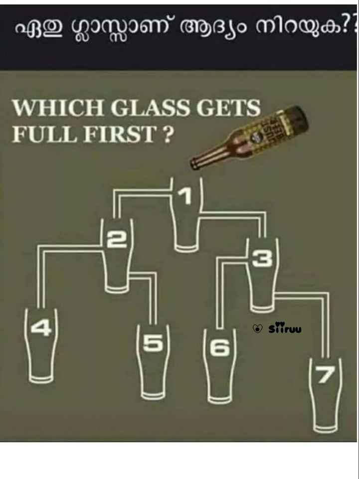 🤔 കുസൃതി ചോദ്യം - - ഏതു ഗ്ലാസ്സാണ് ആദ്യം നിറയുക ? WHICH GLASS GETS | FULL FIRST ? siiruu N ) - ShareChat