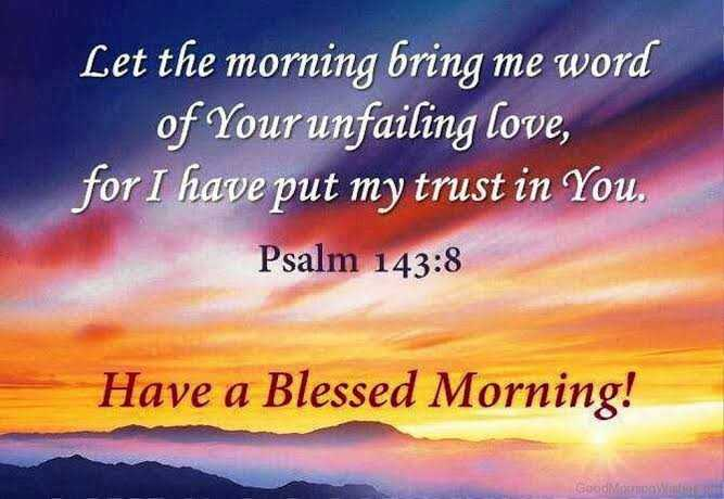 ⛪ ക്രിസ്തീയ വിശ്വാസം - Let the morning bring me word of Your unfailing love , for I have put my trust in You . Psalm 143 : 8 Have a Blessed Morning ! GoodMW - ShareChat