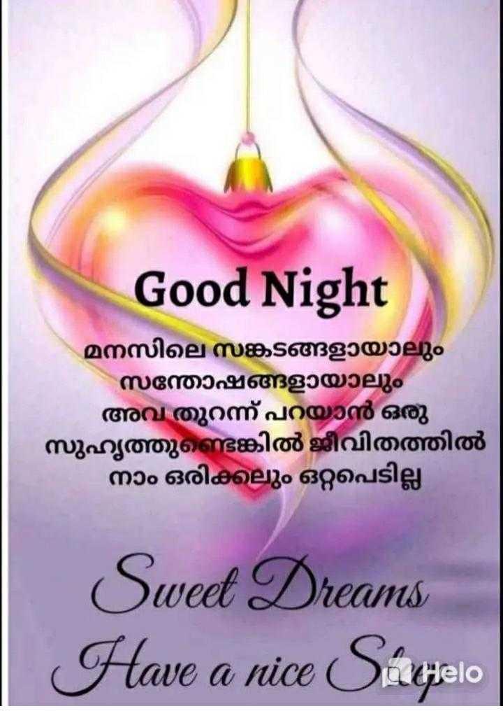 🌃 ഗുഡ് നൈറ്റ് - Good Night മനസിലെ സങ്കടങ്ങളായാലും സന്തോഷങ്ങളായാലും അവ തുറന്ന് പറയാൻ ഒരു സുഹൃത്തുണ്ടെങ്കിൽ ജീവിതത്തിൽ നാം ഒരിക്കലും ഒറ്റപെടില്ല Sweet Dreams Have a nice Súhelo - ShareChat