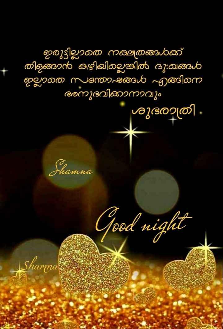 🌃 ഗുഡ് നൈറ്റ് - ബല ' ഇരുട്ടില്ലാത നക്ഷത്രങ്ങൾക്ക് തിളങ്ങാൻ കഴിയില്ലെങ്കിൽ ദു : ഖങ്ങൾ ' ഇല്ലാതെ സന്തോഷങ്ങൾ എങ്ങിന ' അനുഭവിക്കാനാവും ശുഭരാത്രി . thamna Good night Shamnar - ShareChat