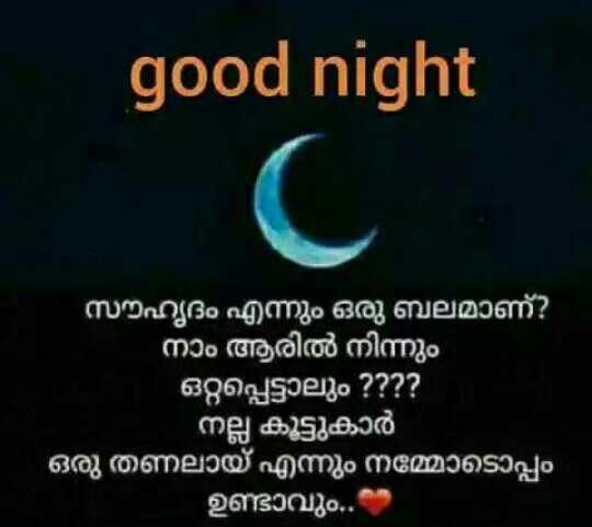 🌃 ഗുഡ് നൈറ്റ് - good night ' സൗഹൃദം എന്നും ഒരു ബലമാണ് ? നാം ആരിൽ നിന്നും ഒറ്റപ്പെട്ടാലും ? ? ? ? - നല്ല കൂട്ടുകാർ ' ഒരു തണലായ് എന്നും നമ്മോടൊപ്പം ഉണ്ടാവും . ക - ShareChat