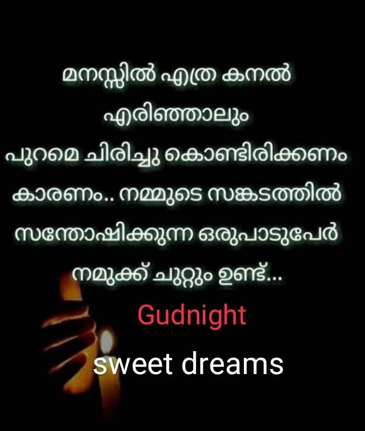 🌃 ഗുഡ് നൈറ്റ് - o ' മനസ്സിൽ എത്ര കനൽ ' എരിഞ്ഞാലും ' പുറമെ ചിരിച്ചു കൊണ്ടിരിക്കണം ' കാരണം . നമ്മുടെ സങ്കടത്തിൽ ' സന്തോഷിക്കുന്ന ഒരുപാടുപേർ ' നമുക്ക് ചുറ്റും ഉണ്ട് . . . Gudnight sweet dreams - ShareChat