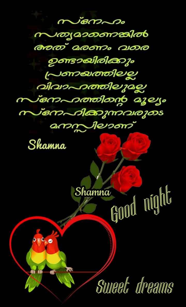 🌃 ഗുഡ് നൈറ്റ് - ണ ം ര ' സ്നഹം സത്യമാണത്തിൽ അത് മരണം വര ഉണ്ടായിരിക്കും | പ്രണയത്തിലല്ല വിവാഹത്തിലുമല്ല സ്നേഹത്തിന്റെ മൂല്യം സ്നേഹിക്കുന്നവരുട ' മനസ്സിലാണ് Shamna Shamna Good night Sweet dreams - ShareChat