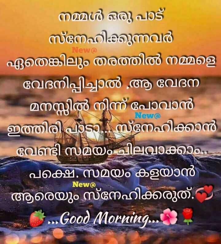 🌞 ഗുഡ് മോണിംഗ് - New @ - നമ്മൾ ഒരു പാട് സ്നേഹിക്കുന്നവർ | ഏതെങ്കിലും തരത്തിൽ നമ്മളെ - വേദനിപ്പിച്ചാൽ ആ വേദന മനസ്സിൽ നിന്ന് പോവാൻ | ഇത്തിരി പാടാ . സ്നേഹിക്കാൻ വേണ്ടി സമയം ചിലവാക്കാം . പക്ഷെി . സമയം കളയാൻ - ആരെയും സ്നേഹിക്കരുത് . . . . Good Morning . . . 3 New @ | New @ - ShareChat