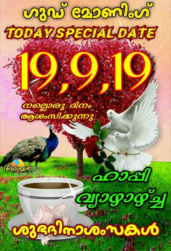 🌞 ഗുഡ് മോണിംഗ് - ് മിംഗ് TODAY SPECIAL DATE 19 , 919 നല്ലൊരു ദിനം ആശംസിക്കുന്നു ; മൻ ഹാപ്പി ഖ്യാഴാഴ്ച്ചി ശുദിനാശംസകൾ - ShareChat