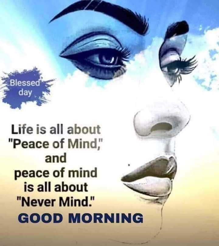 🌞 ഗുഡ് മോണിംഗ് - Blessed day Life is all about Peace of Mind , and peace of mind is all about Never Mind . GOOD MORNING - ShareChat