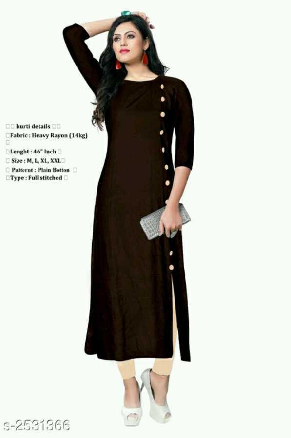 👗 ഡ്രസ്സുകൾ - kurti details 0 Fabric : Heavy Rayon ( 14kg ) Lenght : 46 Inch Size : M , L , XL , XXL Patternt : Plain Botton Type : Full stitched 5 - 2531366 - ShareChat