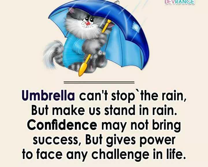 📙 നോവൽ - DEVRANGE Umbrella can ' t stop the rain , But make us stand in rain . Confidence may not bring Success , But gives power to face any challenge in life . - ShareChat