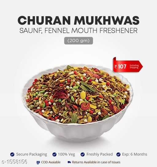 👜 ഫാഷന്‍ - CHURAN MUKHWAS SAUNF , FENNEL MOUTH FRESHENER ( 200 gm ) * 107 receding Secure Packaging 100 % Veg Freshly Packed Exp : 6 Months S - 1558156 COD Avaiable - Returns Available in case of Issues - ShareChat