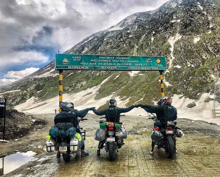 🛵 റൈഡര്‍ - KARGIL PROJECT VIJAYAK LEH 96 KM WELCOMES YOU TO LADAKH 326 KM BRO YOU ARE AT ZOJILA ALTITUDE 11649 FT VIJAYAK BORDER ROADSORGANISATION RIAL 21 - ShareChat