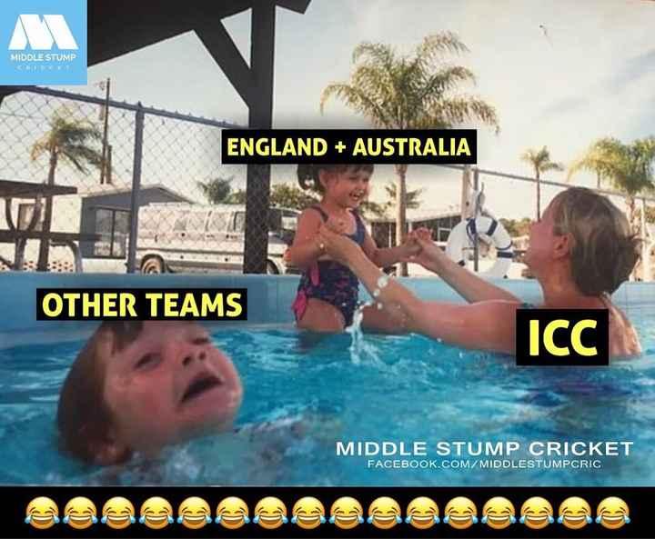 വേൾഡ് കപ്പ് മഴയത്ത് ☔️ - MIDDLE STUMP CRICKET ENGLAND + AUSTRALIA OTHER TEAMS Icc MIDDLE STUMP CRICKET FACEBOOK . COM / MIDDLESTUMPCRIC - ShareChat