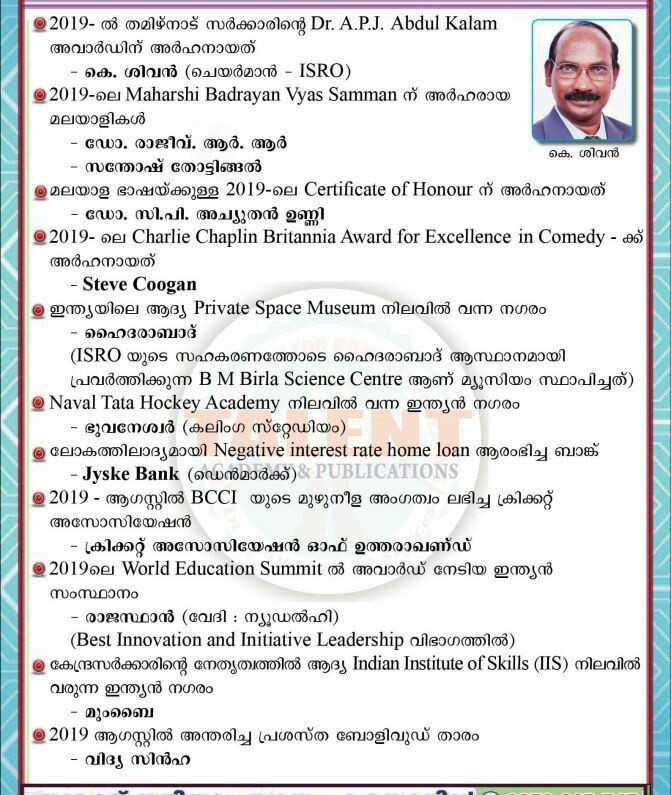 📰 സമകാലികം - തു 2019 - ൽ തമിഴ്നാട് സർക്കാരിന്റെ Dr . A . P . J . Abdul Kalam അവാർഡിന് അർഹനായത് - കെ . ശിവൻ ( ചെയർമാൻ - ISRO ) @ 2019 - ലെ Maharshi Badrayan Vyas Samman ന് അർഹരായ മലയാളികൾ - ഡോ . രാജീവ് . ആർ . ആർ കെ , ശിവൻ - സന്തോഷ് തോട്ടിങ്ങൽ ത്ര മലയാള ഭാഷയ്ക്കുള്ള 2019 - ലെ Certificate of Honour ന് അർഹനായത് - ഡോ . സി . പി . അച്യുതൻ ഉണ്ണി © 2019 - ലെ Charlie Chaplin Britannia Award for Excellence in Comedy - ക്ക് അർഹനായത് - Steve Coogan ത്ര ഇന്ത്യയിലെ ആദ്യ Private Space Museum നിലവിൽ വന്ന നഗരം - ഹൈദരാബാദ് ( ISRO യുടെ സഹകരണത്തോടെ ഹൈദരാബാദ് ആസ്ഥാനമായി പ്രവർത്തിക്കുന്ന B M Birla Science Centre ആണ് മ്യൂസിയം സ്ഥാപിച്ചത് ) @ Naval Tata Hockey Academy നിലവിൽ വന്ന ഇന്ത്യൻ നഗരം - ഭുവനേശ്വർ ( കലിംഗ സ്റ്റേഡിയം ) @ ലോകത്തിലാദ്യമായി Negative interest rate home loan ആരംഭിച്ച ബാങ്ക് - - Jyske Bank ( ഡെൻമാർക്ക് ) : PUBLICATIONS © 2019 - ആഗസ്റ്റിൽ BCCI യുടെ മുഴുനീള അംഗത്വം ലഭിച്ച ക്രിക്കറ്റ് അസോസിയേഷൻ - - ക്രിക്കറ്റ് അസോസിയേഷൻ ഓഫ് ഉത്തരാഖണ്ഡ് © 2019ലെ World Education Summit ൽ അവാർഡ് നേടിയ ഇന്ത്യൻ സംസ്ഥാനം - രാജസ്ഥാൻ ( വേദി : ന്യൂഡൽഹി ) ( Best Innovation and Initiative Leadership വിഭാഗത്തിൽ ) ത്ര കേന്ദ്രസർക്കാരിന്റെ നേതൃത്വത്തിൽ ആദ്യ Indian Institute of Skills ( IS ) നിലവിൽ വരുന്ന ഇന്ത്യൻ നഗരം - മുംബൈ @ 2019 ആഗസ്റ്റിൽ അന്തരിച്ച പ്രശസ്ത ബോളിവുഡ് താരം - വിദ്യ സിൻഹ - ShareChat