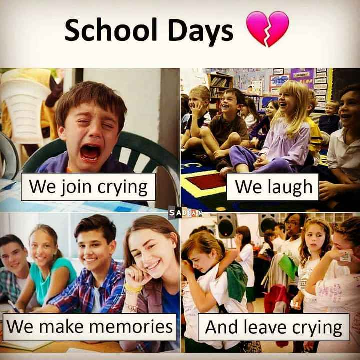 🏫സ്കൂൾ ലൈഫ് - School Days We join crying We laugh SADCASM WIFT We make memories And leave crying - ShareChat