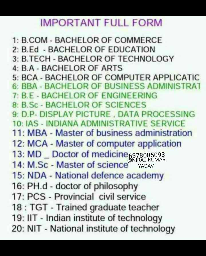 👨‍🎓 इंग्लिश स्पीकिंग - IMPORTANT FULL FORM 1 : B . COM - BACHELOR OF COMMERCE 2 : B . Ed - BACHELOR OF EDUCATION 3 : B . TECH - BACHELOR OF TECHNOLOGY 4 : B . A - BACHELOR OF ARTS 5 : BCA - BACHELOR OF COMPUTER APPLICATIC 6 : BBA - BACHELOR OF BUSINESS ADMINISTRAT 7 : B . E - BACHELOR OF ENGINEERING 8 : B . Sc - BACHELOR OF SCIENCES 9 . D . P . DISPLAY PICTURE , DATA PROCESSING 10 : IAS - INDIANA ADMINISTRATIVE SERVICE 11 : MBA - Master of business administration 12 : MCA - Master of computer application 13 : MD _ Doctor of medicine 6378085093 14 : M . Sc - Master of science YADAV 15 : NDA - National defence academy 16 : PH . d - doctor of philosophy 17 : PCS - Provincial civil service 18 : TGT - Trained graduate teacher 19 : IIT - Indian institute of technology 20 : NIT - National institute of technology - ShareChat