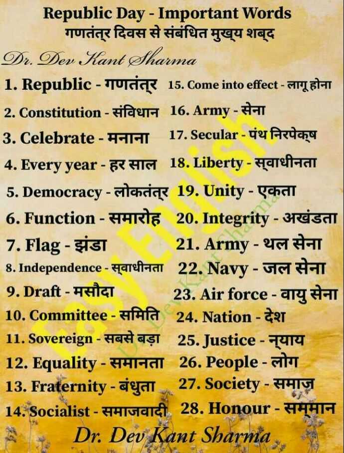 👨‍🎓 इंग्लिश स्पीकिंग - Republic Day - Important Words गणतंत्र दिवस से संबंधित मुख्य शब्द Dr . Dev Kant Sharma 1 . Republic - Jucik 15 . Come into effect - ATLETAT 2 . Constitution - Figur 16 . Army - # 3 . Celebrate - IHI 17 . Secular - de fruchy 4 . Every year - GRAIS 18 . Liberty - Hateft - IG 5 . Democracy - chcice 19 . Unity - chall 6 . Function - YRIE 20 . Integrity - 3reisai 7 . Flag - Sisi 21 . Army - 61 TT 8 . Independence - tareftal 22 . Navy - GG HAT 9 . Draft - HHCT 23 . Air force - gry T 10 . Committee - Afa 24 . Nation - det 11 . Sovereign - Hadasi 25 . Justice - 414 12 . Equality - HHIAAT 26 . People - The 13 . Fraternity - ayat 27 . Society - AHIY 14 . Socialist - H - [ gad 28 . Honour - HHA Dr . Dev Kant Sharma - ShareChat