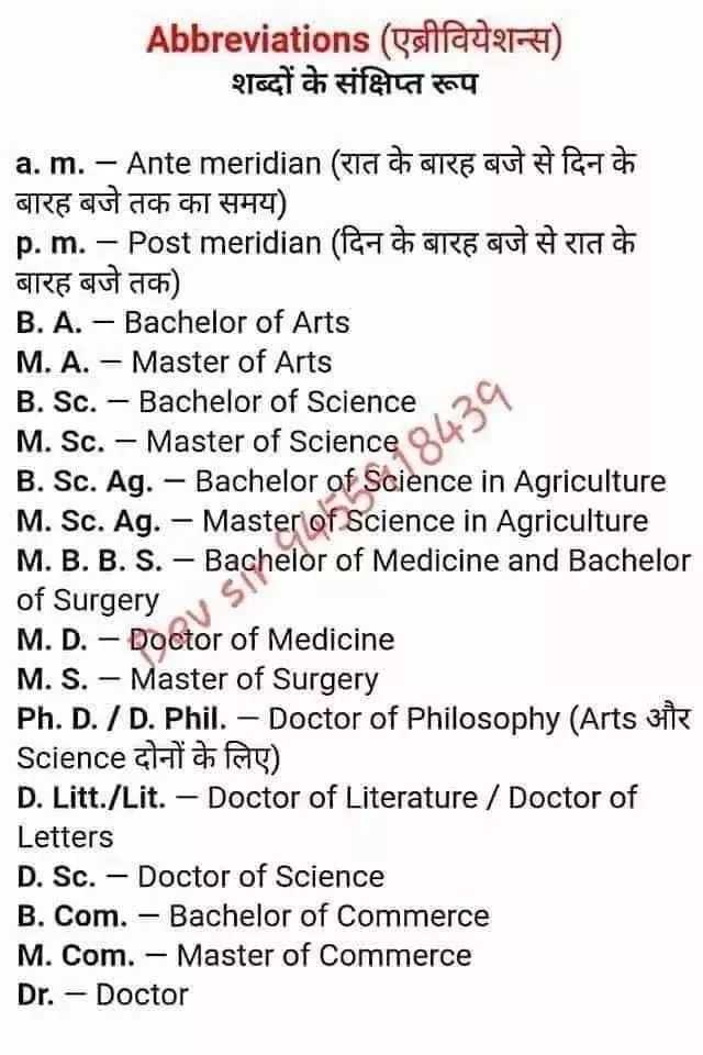 👨🎓 इंग्लिश स्पीकिंग - Abbreviations ( एब्रीवियेशन्स ) शब्दों के संक्षिप्त रूप a . m . - Ante meridian ( ETSI a GRE OU À fanta बारह बजे तक का समय ) p . m . – Post meridian ( Raw GREGUT # TATT बारह बजे तक ) । B . A . - Bachelor of Arts M . A . - Master of Arts B . Sc . - Bachelor of Science 29 M . Sc . - Master of Sciences B . Sc . Ag . - Bachelor of Science in Agriculture M . Sc . Ag . - Master of Science in Agriculture M . B . B . S . - Bachelor of Medicine and Bachelor of Surgery M . D . - Doctor of Medicine M . S . - Master of Surgery Ph . D . / D . Phil . - Doctor of Philosophy ( Arts 31 Science chaiah ) D . Litt . / Lit . - Doctor of Literature / Doctor of Letters D . Sc . - Doctor of Science B . Com . - Bachelor of Commerce M . Com . - Master of Commerce Dr . - Doctor - ShareChat