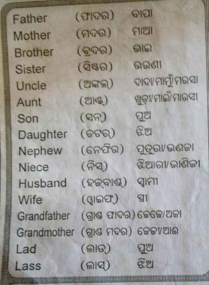 👩💻ସାଧାରଣ ଜ୍ଞାନ - Aunt Son Father ( ଫାଦର ) ବାପା Mother ( ମଦର ) ମାଆ Brother ( ବୁଦର ) ଭାଇ । Sister ( ସିଷ୍ଟର ) ଭଉଣୀ Uncle ( ଅଙ୍କଲ ) ଦାଦାମାମୁଁ ମଉସା ( ଆଣ୍ଟ ) ଖୁଡ଼ୀ ମାଇଁ ମାଉସୀ ( ସନ ) ପୁଅ । Daughter ( ଡଟର ) ଝିଆ Nephew ( ନେଫିଉ ) ପୁତୁରା / ଭଣଜା Niece ( ନିସ୍ ) ଝିଆରୀ / ଭାଣିଜୀ Husband ( ହବାଣ୍ଡ ) ସ୍ବାମୀ Wife ୱାଇଫ ) । ସ୍ତ୍ରୀ Grandfather ( ଗ୍ରାଣ୍ଡ ଫାଦର ) ଜେଜେ ଅଜା Grandmother ( ଗ୍ରାଣ୍ଡ ମଦର ) ଜେଜୀ / ଆଈ Lad ( ଲାଡ ) ପୁଆ Lass ( ଲାସ୍ ) ଝିଆ - ShareChat