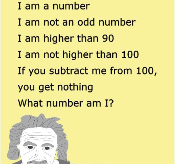 ⛹♀పిల్లల ఆటలు - I am a number I am not an odd number I am higher than 90 I am not higher than 100 If you subtract me from 100 , you get nothing What number am I ? - ShareChat