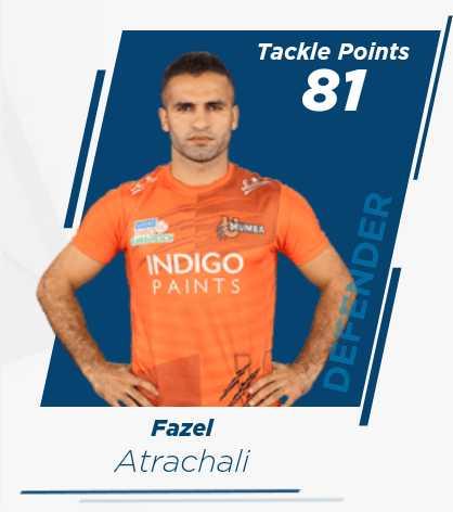 🤼♂️कबड्डी प्रेमी - Tackle Points 87 INDIGO PAINTS DEFENDER Fazel Atrachali - ShareChat