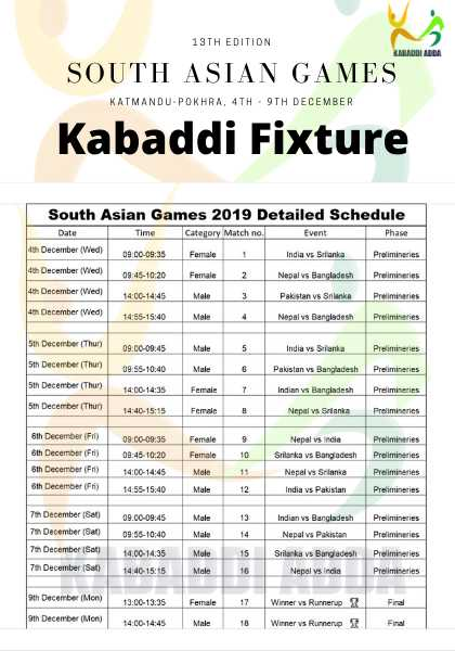 🤾♂️ कबड्डी - 13TH EDITION SOUTH ASIAN GAMES KATMANDU - POKHRA , 4TH - 9TH DECEMBER Kabaddi Fixture South Asian Games 2019 Detailed Schedule Date Time Category Match no . Event Phase 4th December ( Wied ) 09 : 00 - 09 : 35 Female India vs Srilanka Preliminaries 4th December ( Wed ) 09 : 45 - 10 : 20 Female 2 Nepal vs Bangladesh Prelimineries 4th December ( Wed ) 14 : 00 - 14 : 45 Male Pakistan vs Srilanka Preliminaries 4th December ( Wed ) 14 : 55 - 15 : 40 Male Nepal vs Bangladesh Prelimineries 5th December ( Thur ) 09 . 00 - 09 : 45 Male India vs Slanka Prelimineries 5th December ( Thur ) 09 : 55 10 : 40 Male Prelimineries Prelimineries 5th December ( Thur ) Pakistan vs Bangladesh Indian vs Bangladesh Nepal vs Srilanka 14 : 00 14 : 35 5th December ( Thur ) 14 : 40 - 15 : 15 Female Prelimineries 6th December ( Fri ) Prelimineries 6th December ( Fr ) 6th December ( 1 ) 6th December ) 09 . 00 - 09 : 35 09 : 45 - 10 : 20 14 : 00 - 14 : 45 1455 - 15 . 40 Nepal india Srilanka vs Bangladesh Nepal vs Srilanka India vs Pakistan Premieres Male BE6 Primineries 7 December ( Sat ) Male Prelimineries 09 . 00 - 09 . 45 09 : 55 10 : 40 Male Premieres 7 December ( 3 ) 7 December ( 5 ) 7 December ( 8 ) Indian Bangladesh Nepal vs Pakistan Srilanka vs Bangladesh Nepal vs India 14 . 00 - 14 . 35 Premieres Premieres 1440 - 15 . 15 13 . 00 - 13 . 35 Female Winner vs Runnerup Final 9 December ( Mon ) on December ( Mon ) 14 : 00 - 14 : 45 Male Winner vs Runnerup X - ShareChat