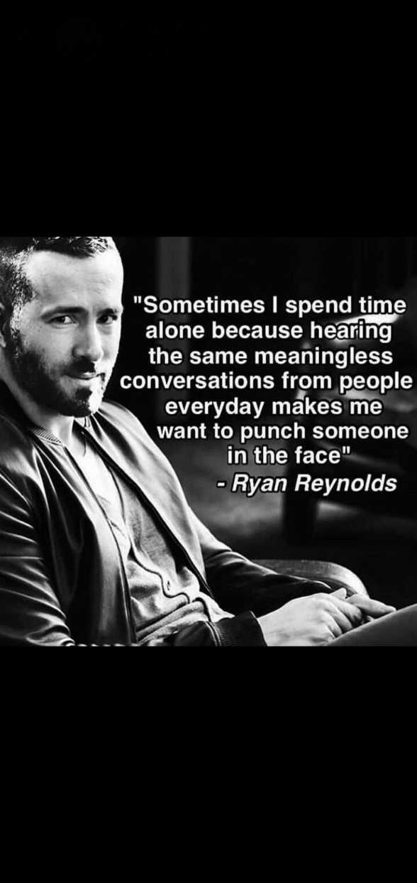 👳♀️ नो बियर्ड डे - Sometimes I spend time alone because hearing the same meaningless conversations from people everyday makes me want to punch someone in the face - Ryan Reynolds - ShareChat