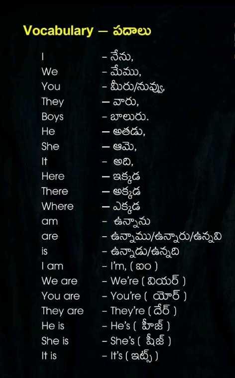 👩💻english నేర్చుకుందాం - We You They Vocabulary – Sorev - నేను , - మేము , - మీరు / నువ్వు , - వారు , Boys - బాలురు . He - అతడు , She - ఆమె , - అది , Here - ఇక్కడ - అక్కడ Where - ఎక్కడ - ఉన్నాను are - ఉన్నాము / ఉన్నారు / ఉన్నవి - ఉన్నాడు ఉన్నది I am - I ' m , ( ఐం ) We are - We ' re ( వియర్ ) You are - You ' re ( యోర్ ) They are - They ' re ( దేర్ ) He is - He ' s ( హీజ్ ) She is - She ' s ( షీజ్ ) It is - It ' s ( ఇట్స్ ) There am - ShareChat