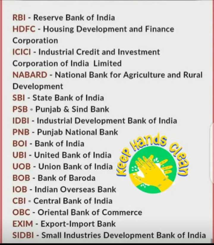 👩💻english నేర్చుకుందాం - RBI - Reserve Bank of India HDFC - Housing Development and Finance Corporation ICICI - Industrial Credit and Investment Corporation of India Limited NABARD - National Bank for Agriculture and Rural Development SBI - State Bank of India PSB · Punjab & Sind Bank IDBI - Industrial Development Bank of India PNB - Punjab National Bank BOI - Bank of India UBI - United Bank of India UOB - Union Bank of India BOB - Bank of Baroda IOB - Indian Overseas Bank CBI - Central Bank of India OBC - Oriental Bank of Commerce EXIM - Export - Import Bank SIDBI - Small Industries Development Bank of India Hands ulea - ShareChat