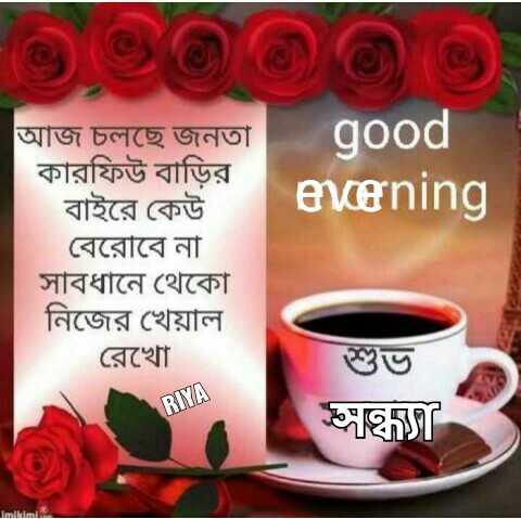 ✊জনতা কারফিউ 🚫 - good evening আজ চলছে জনতা কারফিউ বাড়ির বাইরে কেউ । বেরােবে না সাবধানে থেকো নিজের খেয়াল রেখাে RIYA ঘ5 imili - ShareChat
