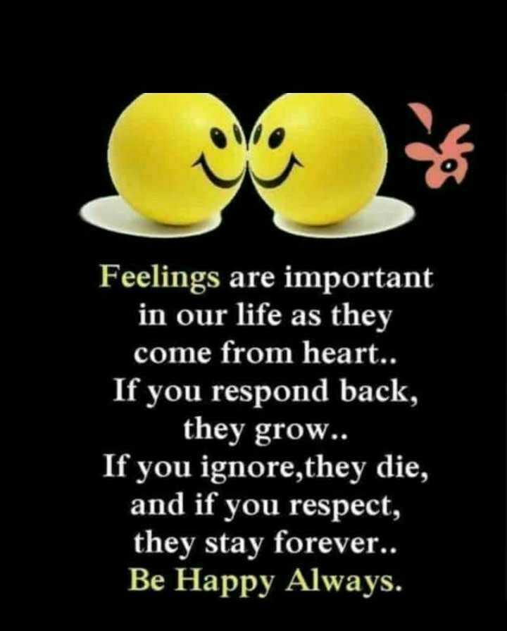 ✋నేను .... - Feelings are important in our life as they come from heart . . If you respond back , they grow . . If you ignore they die , and if you respect , they stay forever . . Be Happy Always . - ShareChat