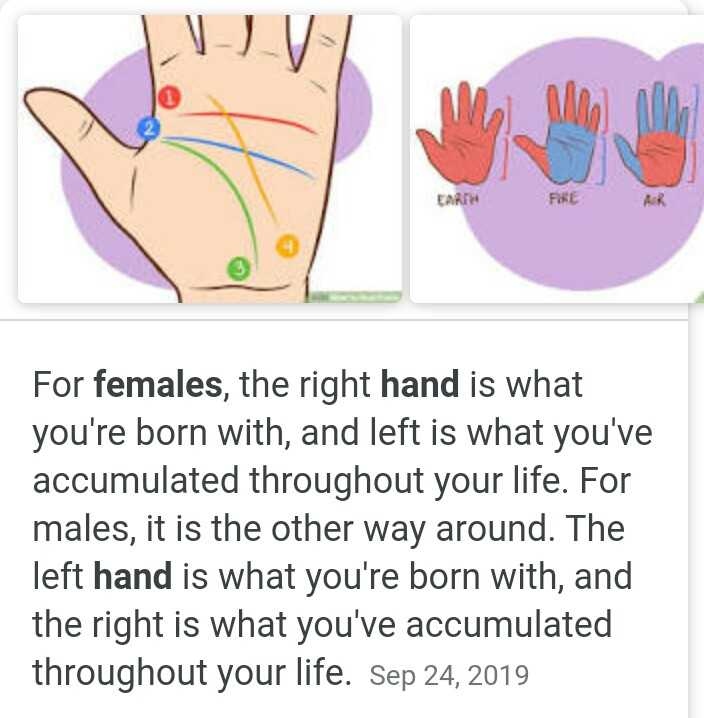 ✋ಶುದ್ಧ ಹಸ್ತ - EARTH For females , the right hand is what you ' re born with , and left is what you ' ve accumulated throughout your life . For males , it is the other way around . The left hand is what you ' re born with , and the right is what you ' ve accumulated throughout your life . Sep 24 , 2019 - ShareChat