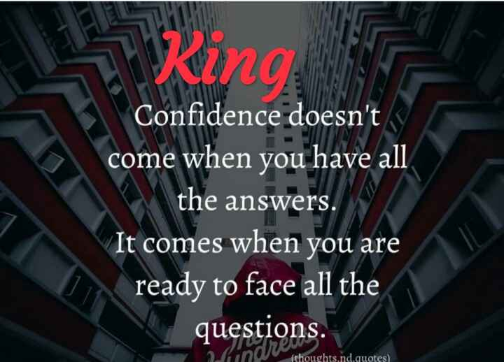 ✌️ આત્મવિશ્વાસ - 1 Ring Confidence doesn ' t come when you have all the answers . It comes when you are ready to face all the questions . ( thoughts . nd . quotes ) - ShareChat