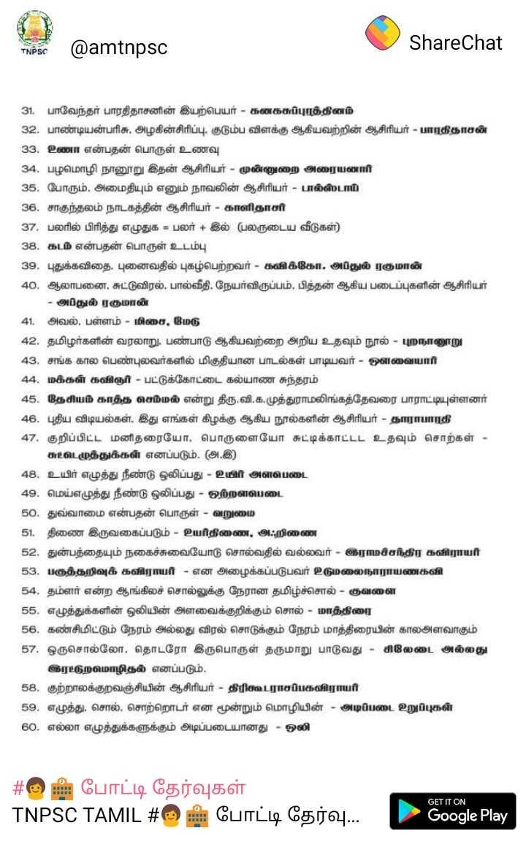 ✍ எக்ஸாம் குறிப்பு - ShareChat TNPSC @ amtnpsc 31 . பாவேந்தர் பாரதிதாசனின் இயற்பெயர் - கனகசுப்புரத்தினம் 32 . பாண்டியன்பரிசு , அழகின் சிரிப்பு , குடும்ப விளக்கு ஆகியவற்றின் ஆசிரியர் - பாரதிதாசன் 33 . உணா என்பதன் பொருள் உணவு 34 , பழமொழி நானூறு இதன் ஆசிரியர் - முன்னுறை அரையனாரி 35 , போரும் , அமைதியும் எனும் நாவலின் ஆசிரியர் - பால்ஸ்டாய் 36 . சாகுந்தலம் நாடகத்தின் ஆசிரியர் - காளிதாசர் 37 . பலரில் பிரித்து எழுதுக = பலர் + இல் ( பலருடைய வீடுகள் ) 38 , கடம் என்பதன் பொருள் உடம்பு 39 . புதுக்கவிதை , புனைவதில் புகழ்பெற்றவர் - கவிக்கோ . அப்துல் ரகுமான் 40 . ஆலாபனை , சுட்டுவிரல் . பால்வீதி , நேயர்விருப்பம் . பித்தன் ஆகிய படைப்புகளின் ஆசிரியர் - அப்துல் ரகுமான் 41 . அவல் , பள்ளம் - மிசை , மேடு 42 . தமிழர்களின் வரலாறு , பண்பாடு ஆகியவற்றை அறிய உதவும் நூல் - புறநானூறு 43 . சங்க கால பெண்புலவர்களில் மிகுதியான பாடல்கள் பாடியவர் - ஒளவையார் 44 . மக்கள் கவிஞர் - பட்டுக்கோட்டை கல்யாண சுந்தரம் 45 . தேசியம் காத்த செம்மல் என்று திரு . வி . க . முத்துராமலிங்கத்தேவரை பாராட்டியுள்ளனர் 46 . புதிய விடியல்கள் . இது எங்கள் கிழக்கு ஆகிய நூல்களின் ஆசிரியர் - தாராபாரதி 47 . குறிப்பிட்ட மனிதரையோ , பொருளையோ சுட்டிக்காட்டட உதவும் சொற்கள் - சுட்டெழுத்துக்கள் எனப்படும் . ( அ . இ ) 48 . உயிர் எழுத்து நீண்டு ஒலிப்பது - உயிர் அளபெடை 49 . மெய்எழுத்து நீண்டு ஒலிப்பது - ஒற்றளபெடை 50 . துவ்வாமை என்பதன் பொருள் - வறுமை 51 . திணை இருவகைப்படும் - உயர்திணை , அஃறிணை 52 . துன்பத்தையும் நகைச்சுவையோடு சொல்வதில் வல்லவர் - இராமச்சந்திர கவிராயர் 53 . பகுத்தறிவுக் கவிராயர் - என அழைக்கப்படுபவர் உடுமலைநாராயணகவி 54 , தம்ளர் என்ற ஆங்கிலச் சொல்லுக்கு நேரான தமிழ்ச்சொல் - குவளை 55 . எழுத்துக்களின் ஒலியின் அளவைக்குறிக்கும் சொல் - மாத்திரை 56 . கண்சிமிட்டும் நேரம் அல்லது விரல் சொடுக்கும் நேரம் மாத்திரையின் காலஅளவாகும் 57 . ஒருசொல்லோ , தொடரோ இருபொருள் தருமாறு பாடுவது - சிலேடை அல்லது இரட்டுறமொழிதல் எனப்படும் . 58 , குற்றாலக்குறவஞ்சியின் ஆசிரியர் - திரிகூடராசப்பகவிராயர் 59 . எழுத்து , சொல் , சொற்றொடர் என மூன்றும் மொழியின் - அடிப்படை உறுப்புகள் 60 . எல்லா எழுத்துக்களுக்கும் அடிப்படையானது - ஒலி # 9 ப் போட்டி தேர்வுகள் TNPSC TAMIL # © 2 போ