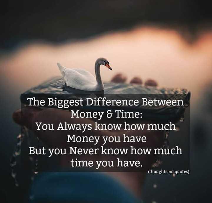 ✍ என் கவிதைகள் - The Biggest Difference Between Money & Time : You Always know how much Money you have But you Never know how much time you have . ( thoughts . nd . quotes ) - ShareChat