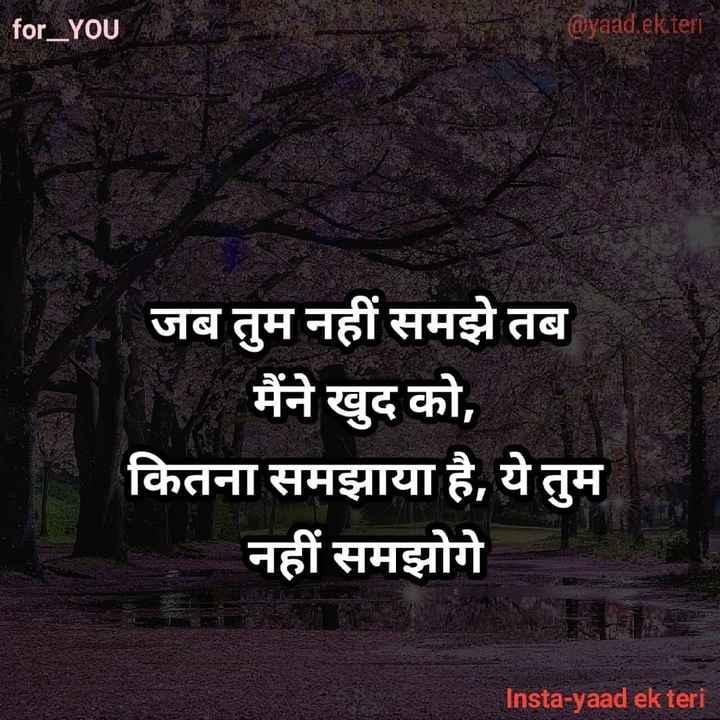 ✍️अल्फ़ाज़✍️ - for _ YOU @ yaad . ek teri जब तुम नहीं समझे तब मैंने खुद को , कितना समझाया है , ये तुम नहीं समझोगे Insta - yaad ek teri - ShareChat