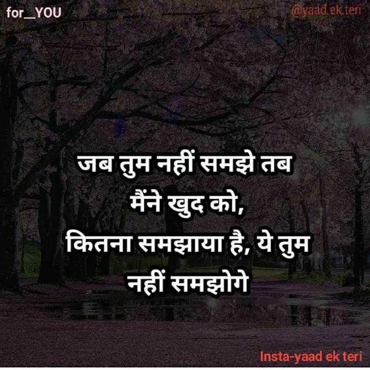 ✍️अल्फ़ाज़✍️ - for _ YOU @ yaad , ek teri जब तुम नहीं समझे तब मैंने खुद को , कितना समझाया है , ये तुम नहीं समझोगे Insta - yaad ek teri - ShareChat