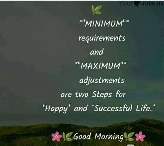 ✍️ જીવન કોટ્સ - your quote . in * MINIMUM * requirements and * MAXIMUM * adjustments are two Steps for * Happy * and * Successful Life . * * Good Morning * - ShareChat