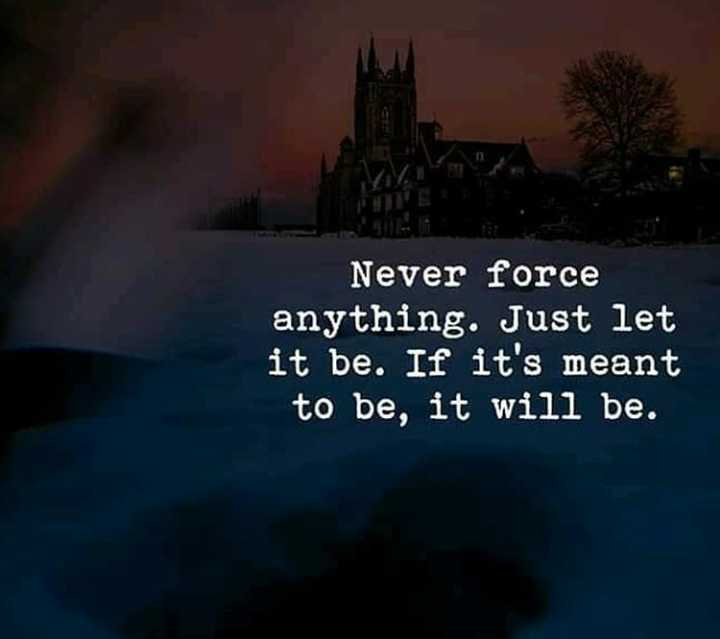 ✍️  Motivatinal Quotes - Never force anything . Just let it be . If it ' s meant to be , it will be . - ShareChat