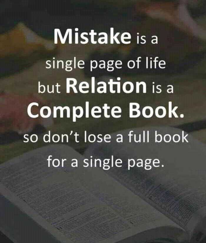 ✍️ Motivatinal Quotes - DIO e Mistake is a single page of life but Relation is a Complete Book . so don ' t lose a full book for a single page . - ShareChat