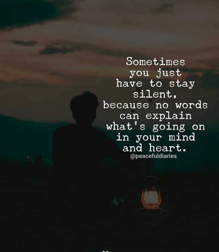 ✍️  Motivatinal Quotes - Sometimes you just have to stay silent , because no words can explain what ' s going on in your mind and heart . @ peacefuldiaries - ShareChat