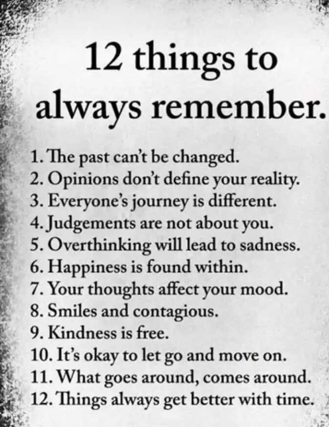 ✍️ Motivatinal Quotes - 12 things to always remember . 1 . The past can ' t be changed . 2 . Opinions don ' t define your reality . 3 . Everyone ' s journey is different . 4 . Judgements are not about you . 5 . Overthinking will lead to sadness . 6 . Happiness is found within . 7 . Your thoughts affect your mood . 8 . Smiles and contagious . 9 . Kindness is free . 10 . It ' s okay to let go and move on . 11 . What goes around , comes around . 12 . Things always get better with time . - ShareChat