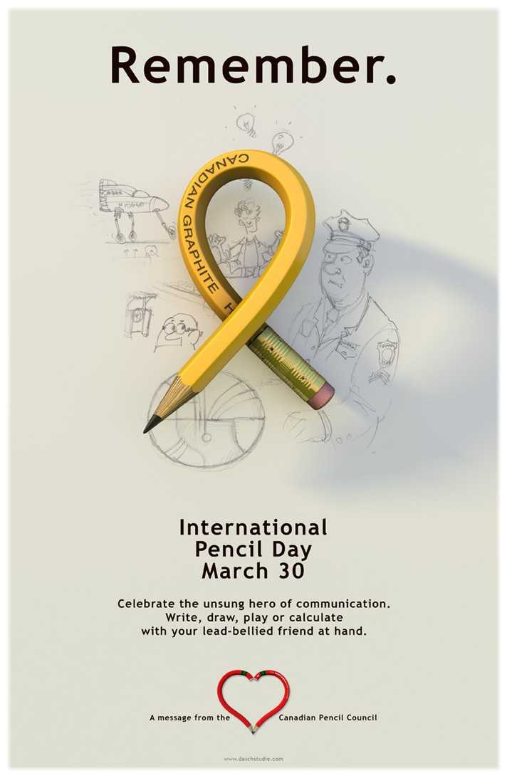 ✏️ વિશ્વ પેન્સિલ દિવસ - Remember . & NVO VADIAN probat GRAPHITE HITE Η International Pencil Day March 30 Celebrate the unsung hero of communication . Write , draw , play or calculate with your lead - bellied friend at hand . A message from the Canadian Pencil Council www . daschstudio . com - ShareChat