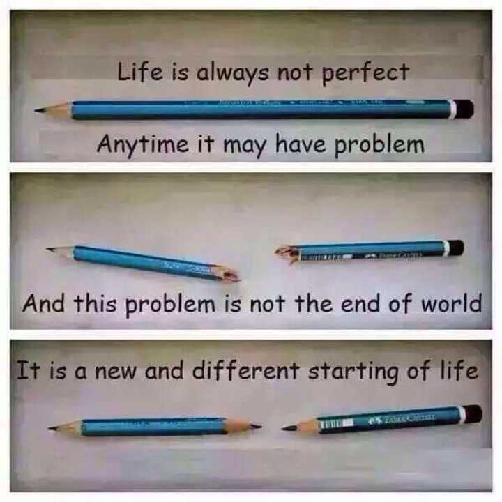 ✒️ કવિની કલમ - Life is always not perfect Anytime it may have problem And this problem is not the end of world It is a new and different starting of life - ShareChat