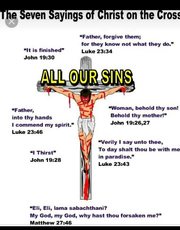 "✝️गुड फ्राइडे - The Seven Sayings of Christ on the Cross Father , forgive them ; for they know not what they do . Luke 23 : 34 It is finished John 19 : 30 ALL OUR SINS Father , into thy hands I commend my spirit . "" Luke 23 : 46 Woman , behold thy son ! Behold thy mother ! John 19 : 26 , 27 I Thirst John 19 : 28 Verily I say unto thee , To day shalt thou be with me in paradise . Luke 23 : 43 Eli , Eli , lama sabachthani ? My God , my God , why hast thou forsaken me ? Matthew 27 : 46 - ShareChat"