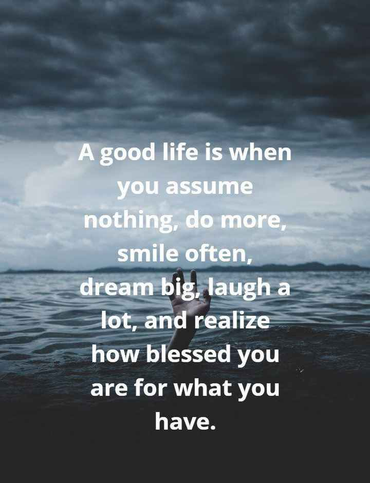 ✝️Jesus - A good life is when you assume nothing , do more , smile often , dream big , laugh a Tot , and realize how blessed you are for what you have . - ShareChat