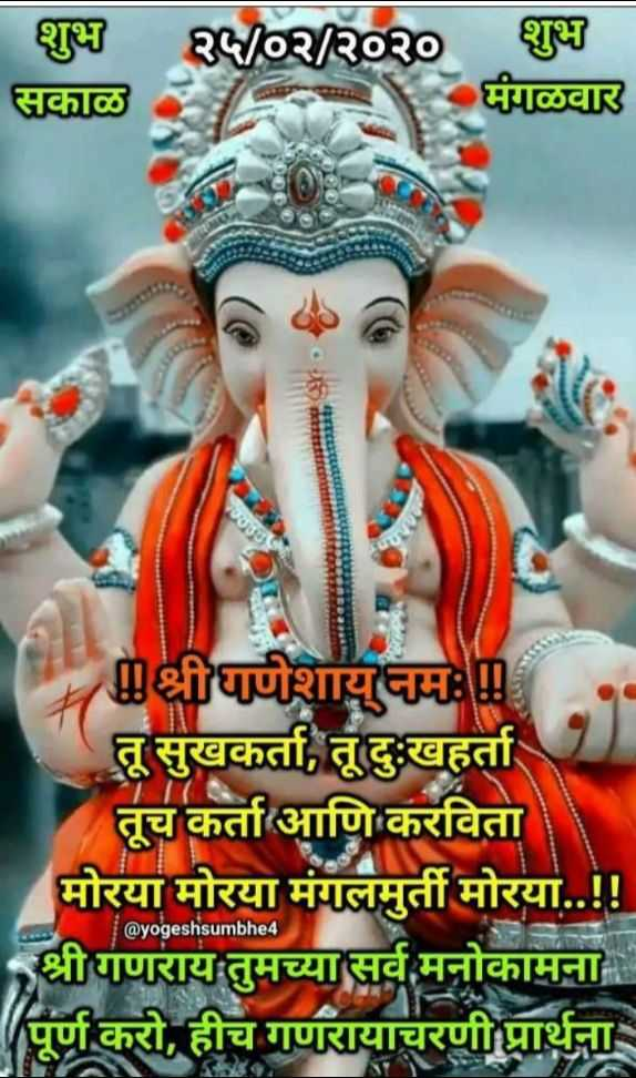 ✨मंगळवार स्पेशल - शुभ २५ / ०२ / २०२० शुभ सकाळ मंगळवार श्रीधाणेशायनमः तू सुखकर्ता , तू दुःखहर्ता । तूच कर्ता आणि करविता मोरया मोरया मंगलमुर्ती मोरया . . ! ! श्रीगणराय तुमच्या सर्व मनोकामना पूर्ण करो , हीच गणरायाचरणी प्रार्थना @ yogeshsumbhe4 - ShareChat