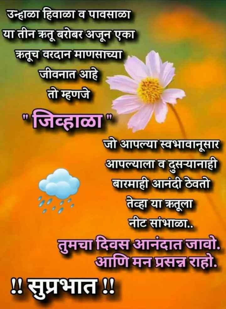 ✨शुभ बुधवार - उन्हाळा हिवाळा व पावसाळा या तीन ऋतू बरोबर अजून एका ऋतूच वरदान माणसाच्या जीवनात आहे तो म्हणजे जिव्हाळा जो आपल्या स्वभावानुसार आपल्याला व दुसऱ्यानाही बारमाही आनंदी ठेवतो तेव्हा या ऋतूला नीट सांभाळा . . तुमचा दिवस आनंदात जावो . आणि मन प्रसन्न राहो . ! ! सुप्रभात ! ! - ShareChat