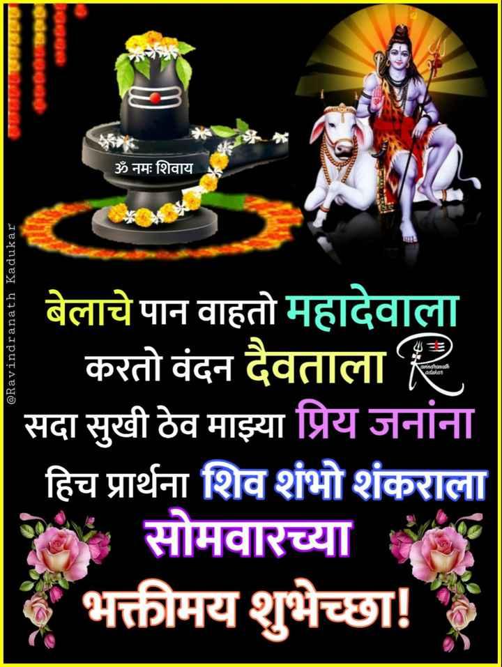 ✨शुभ सोमवार - SoS ॐ नमः शिवाय @ Ravindranath Kadukar aindranath adakat बेलाचे पान वाहतो महादेवाला करतो वंदन दैवताला सदा सुखी ठेव माझ्या प्रिय जनांना हिच प्रार्थना शिव शंभो शंकराला सोमवारच्या र भक्तीमय शुभेच्छा ! - ShareChat