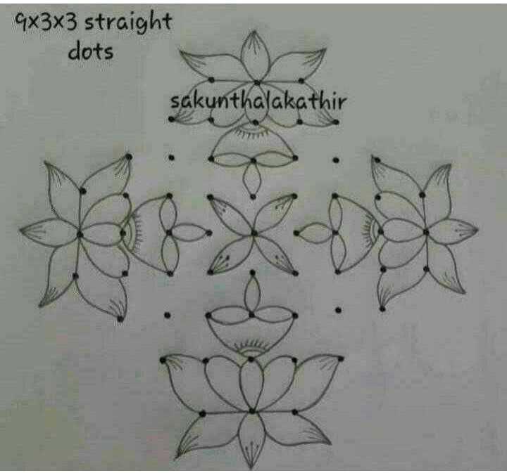 ❄️ಸಂಕ್ರಾಂತಿ ರಂಗೋಲಿ - 9x3x3 straight dots sakunthalakathir - ShareChat